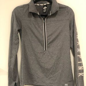 PINK grey quarter zip